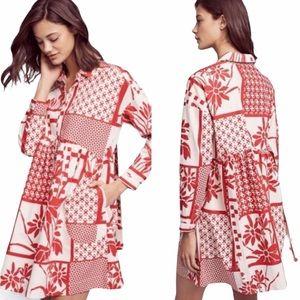 Anthropologie Maeve Printmaker Red Pocket Dress